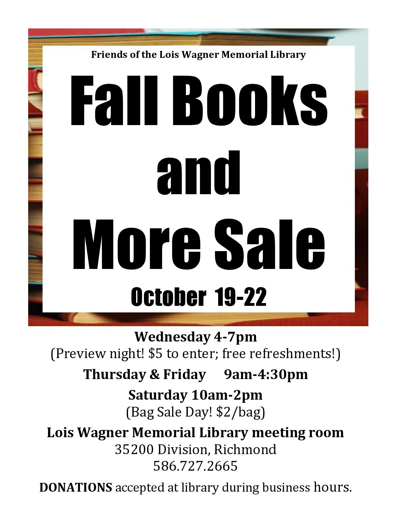 Fall 2016 Book Sale Flyer
